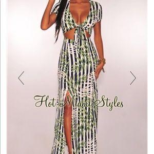 HMS palm print maxi cut out dress